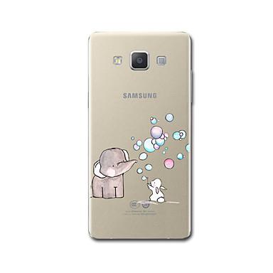 رخيصةأون حافظات / جرابات هواتف جالكسي A-غطاء من أجل Samsung Galaxy A3 (2017) / A5 (2017) / A7 (2017) شفاف / نموذج غطاء خلفي كارتون / فيل ناعم TPU