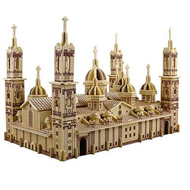 رخيصةأون 3D الألغاز-قطع تركيب3D تركيب مجموعات البناء Church كاتدرائية بلازا ديل بيلار اصنع بنفسك محاكاة خشبي كلاسيكي للأطفال للبالغين للجنسين للصبيان للفتيات ألعاب هدية / النماذج الخشبية