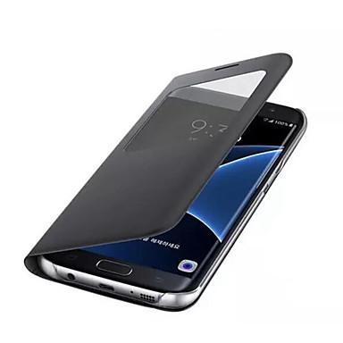 voordelige Galaxy A-serie hoesjes / covers-hoesje Voor Samsung Galaxy A3 (2017) / A5 (2017) / A7 (2017) met venster Volledig hoesje Effen Hard PU-nahka