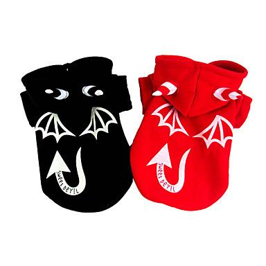 رخيصةأون ملابس وإكسسوارات الكلاب-كلب ازياء تنكرية المعاطف سترة الشتاء ملابس الكلاب أسود أحمر الهالووين كوستيوم طفل كلب صغير قطن الملاك والشيطان XS S M L XL