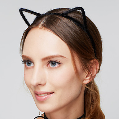 olcso Hajékszerek-Női Fejpánt Vintage aranyos stílus Akril Anyag Szőrme Fejpántok Hajékszerek Esküvő Parti - Cat Ears