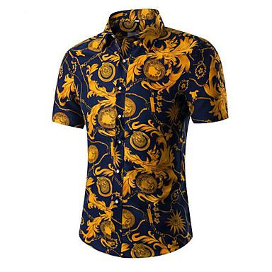 رجالي عتيق قطن قميص, ورد / ترايبال ياقة كلاسيكية / كم قصير / الصيف