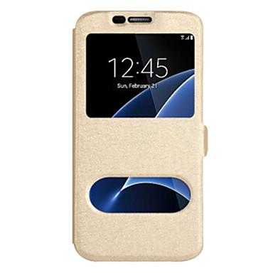 رخيصةأون حافظات / جرابات هواتف جالكسي J-غطاء من أجل Samsung Galaxy J7 (2017) / J7 (2016) / J7 مع نافذة غطاء كامل للجسم لون سادة قاسي جلد PU
