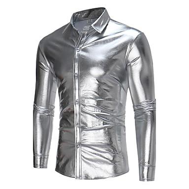 رخيصةأون قمصان رجالي-رجالي مناسب للحفلات / نادي طباعة قميص, لون سادة ياقة كلاسيكية نحيل / كم طويل / الخريف / الشتاء