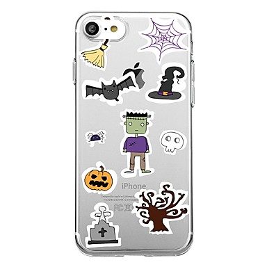 voordelige iPhone-hoesjes-hoesje Voor iPhone 7 / iPhone 7 Plus / iPhone 6s Plus iPhone SE / 5s Transparant / Patroon Achterkant Tegel / Cartoon / Halloween Zacht TPU