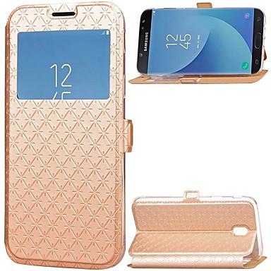 رخيصةأون حافظات / جرابات هواتف جالكسي J-غطاء من أجل Samsung Galaxy J7 (2017) / J5 (2017) / J3 (2017) حامل البطاقات / مع حامل / مع نافذة غطاء كامل للجسم لون سادة قاسي جلد PU