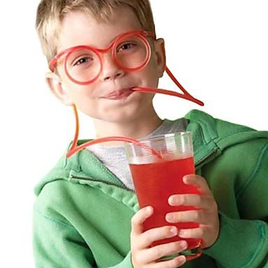 رخيصةأون مصاصات و عصا التحريك-2 قطع النظارات تصميم القش مضحك لينة نظارات القش فريدة مرنة الشرب أنبوب الاطفال الملونة البلاستيك الشرب diy القش شريط accesso (لون عشوائي)