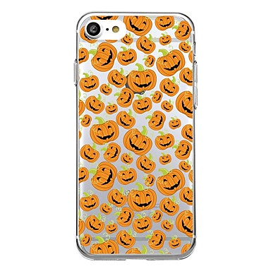 voordelige iPhone 5 hoesjes-hoesje Voor iPhone 7 / iPhone 7 Plus / iPhone 6s Plus iPhone SE / 5s Transparant / Patroon Achterkant Tegel / Halloween Zacht TPU