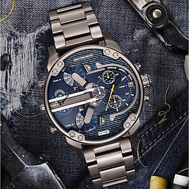Недорогие Часы на металлическом ремешке-Муж. Повседневные часы Спортивные часы Модные часы Кварцевый Роскошь Календарь Аналоговый Черный и золотой Черный / Серебристый Синий / Нержавеющая сталь / # / # / Два года / С двумя часовыми поясами