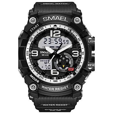 رخيصةأون ساعات الرجال-SMAEL رجالي ساعة رياضية ساعة المعصم ساعة رقمية مطاط أسود 30 m مقاوم للماء المنبه مضيء تناظري-رقمي تمويه موضة عسكري - أسود أخضر أزرق فاتح سنتان عمر البطارية / LED / منطقتا زمنية