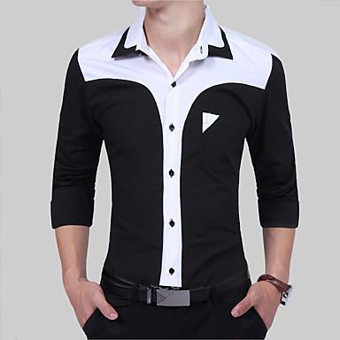 e8dac7086 رجالي قميص نحيل ياقة مفرودة بقع أسود و أبيض ألوان متناوبة أسود XL / كم طويل  / الربيع / الخريف 6145913 2019 – €17.33