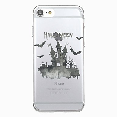 voordelige iPhone-hoesjes-hoesje Voor iPhone 7 / iPhone 7 Plus / iPhone 6s Plus iPhone SE / 5s Transparant / Patroon Achterkant dier / Halloween Zacht TPU