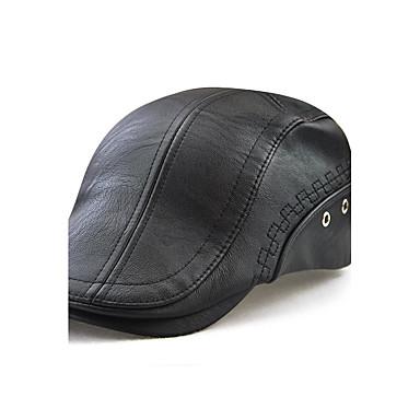 رخيصةأون قبعات الرجال-أسود بني قبعة قلنسوة لون سادة رجالي-مطرز PU,رياضي Active الخارج