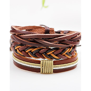 115390bab Men's Women's Wrap Bracelet Leather Bracelet woven Cheap Personalized Punk  Rock Leather Bracelet Jewelry Brown For. cheap Men's ...
