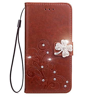 Недорогие Чехлы и кейсы для Motorola-Кейс для Назначение Motorola Кошелек / Бумажник для карт / Стразы Чехол Цветы Твердый Кожа PU для Мото G5 Plus / Moto G5 / Мото G4 Plus