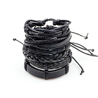 ieftine Brățări-Bărbați Bratari din piele Multistratificat Împletit Răsucit Punk Rock Piele  Bijuterii brățară Negru / Maro / Maro / Alb Pentru Scenă Ieșire