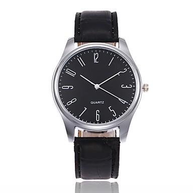 Недорогие Часы на кожаном ремешке-Муж. Наручные часы Кварцевый На каждый день Аналоговый Белый / Бежевый Черный Черный / коричневый / Кожа