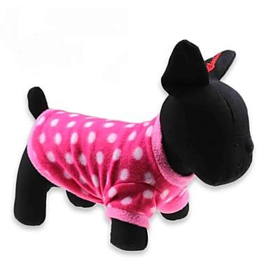 povoljno Odjeća za psa i dodaci-Mačka Pas T-majica Odjeća za psa Na točkice Crvena Flis Kostim Za Zima