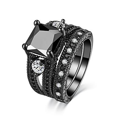 olcso Karikagyűrűk-Női Band Ring Kocka cirkónia Obszidián Matt fekete Circle Shape Luxus Vintage Esküvő Eljegyzés Ékszerek Mágneses