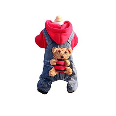رخيصةأون ملابس وإكسسوارات الكلاب-كلب المعاطف حللا سترة الشتاء ملابس الكلاب أصفر أحمر كوستيوم طفل كلب صغير قطن جينزات رأس السنة XS S M L XL