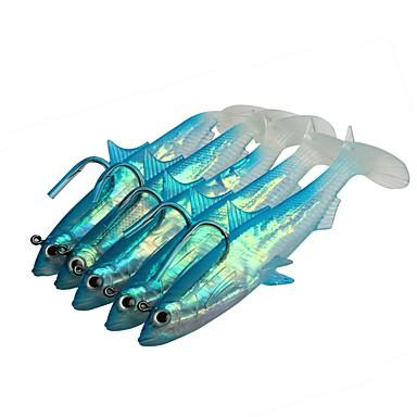 5 pcs Δόλωμα Momeală moale Jig Head shad Jerkbaits moi Scufundare Bass Păstrăv Ştiucă Pescuit mare Aruncare Momeală Pescuit la Copcă silicagel Plastic moale Lead / Filare / Pescuit la Oscilantă