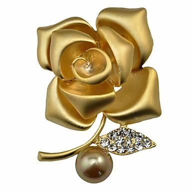 olcso többszínű gyöngykollekció-Női Szintetikus gyémánt Melltűk Virág Virágos / Botanikus Virág Személyre szabott Klasszikus Divat Gyöngyutánzat Arany gyöngy Bross Ékszerek Ezüst Aranyozott Kompatibilitás Parti Ajándék Estély