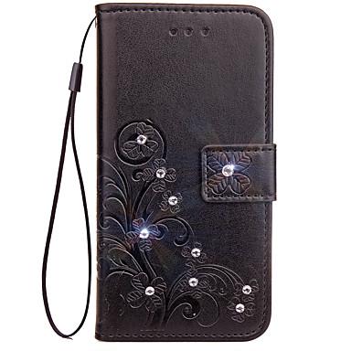 Недорогие Чехлы и кейсы для LG-Кейс для Назначение LG G3 / LG / LG G4 LG G6 Кошелек / Бумажник для карт / Стразы Чехол Однотонный Твердый Кожа PU