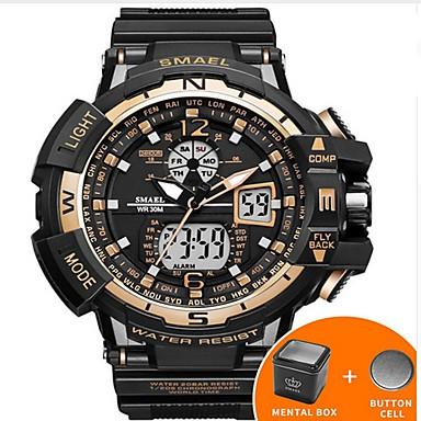 povoljno Muški satovi-SMAEL Muškarci digitalni sat Navy Seal Watch Japanski Silikon Crna 50 m Vodootpornost Kalendar Kreativan Analogni-digitalni Luksuz Ležerne prilike Okrugla Elegantno - Pink Zelen Plava / Svjetleći