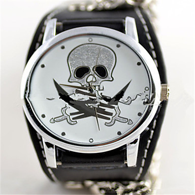 Недорогие Часы на металлическом ремешке-Муж. Жен. Модные часы Кварцевый Мультяшная тематика Кожа Черный Аналоговый - Черный / Белый
