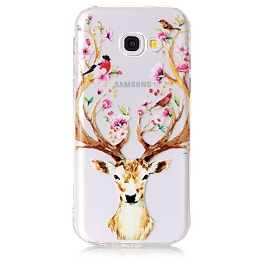 voordelige Galaxy A-serie hoesjes / covers-hoesje Voor Samsung Galaxy A3 (2017) / A5 (2017) / A5(2016) Transparant / Patroon Achterkant dier / Bloem Zacht TPU