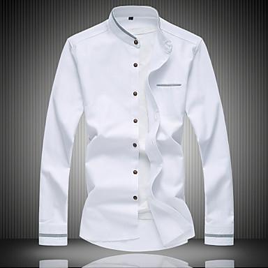 رخيصةأون قمصان رجالي-رجالي عمل قطن قميص, لون سادة رقبة طوقية مرتفعة / كم طويل