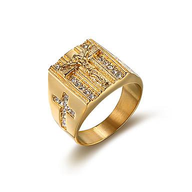 olcso Gyűrűk-Férfi Band Ring Kocka cirkónia Arany Ezüst Kocka cirkónia Titanium Acél Négyzet Vintage Divat Esküvő Estély Ékszerek