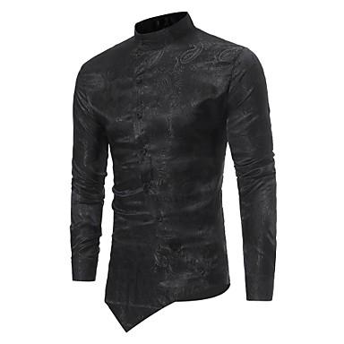 رخيصةأون قمصان رجالي-رجالي ترف قماش الجاكار قميص, لون سادة رقبة طوقية مرتفعة نحيل / كم طويل