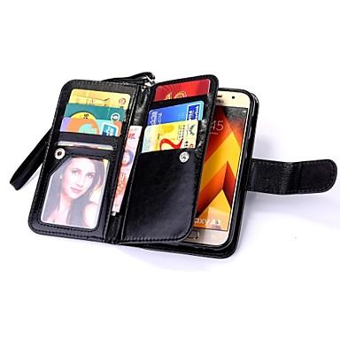 Недорогие Чехлы и кейсы для Galaxy А-Кейс для Назначение SSamsung Galaxy A3 (2017) / A5 (2017) / A7 (2017) Кошелек / Бумажник для карт / Флип Чехол Однотонный Твердый Кожа PU