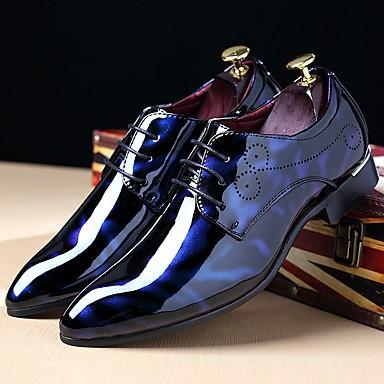 hesapli Ayakkabılar ve Çantalar-Erkek Ayakkabı Patentli Deri Sonbahar / Kış Oxford Modeli Günlük / Parti ve Gece için Bağcıklı Siyah / Kırmızı Şarap / Navy Mavi / Oxfords Baskı / Konforlu Ayakkabılar / EU40