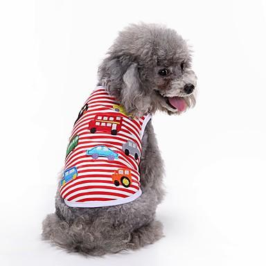 رخيصةأون ملابس وإكسسوارات الكلاب-كلب T-skjorte سترة ملابس الكلاب أحمر كوستيوم قطن هندسي حفلة عيد ميلاد كاجوال / يومي XS S M L XL