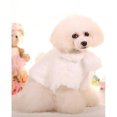 رخيصةأون ملابس وإكسسوارات الكلاب-كلب المعاطف معطف الصوف الشتاء ملابس الكلاب الدفء أبيض زهري كوستيوم قطن أميرة تصميم أنيق كاجوال / يومي XS S M L XL