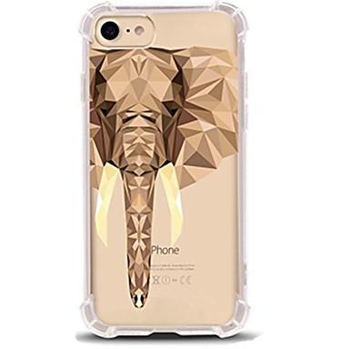 Недорогие Кейсы для iPhone X-Кейс для Назначение Apple iPhone X / iPhone 8 Pluss / iPhone 8 Ультратонкий / Прозрачный / С узором Кейс на заднюю панель Животное / Слон Мягкий ТПУ