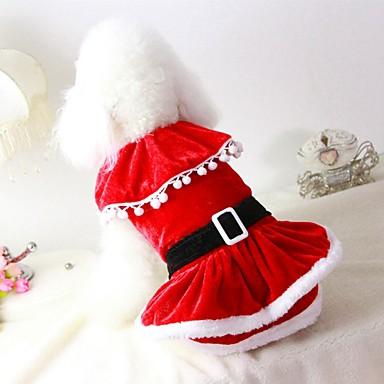 رخيصةأون ملابس وإكسسوارات الكلاب-قط كلب ازياء تنكرية المعاطف الفساتين الشتاء ملابس الكلاب أحمر كوستيوم قماش قطيفة مزيج القطن / الكتان لون سادة حفلة الكوسبلاي كاجوال / يومي XS S M L XL XXL