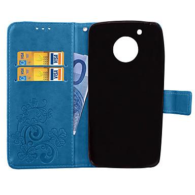 Недорогие Чехлы и кейсы для Motorola-Кейс для Назначение Motorola Мото G5 Plus / Moto G5 Кошелек / Бумажник для карт / со стендом Чехол Однотонный Твердый Кожа PU