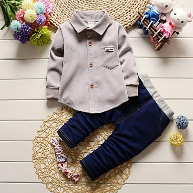 voordelige Baby Jongens kledingsets-Baby Jongens Voor Binnen / School / Casual / Dagelijks Effen Lange mouw Normaal Katoen Kledingset Klaver / Peuter