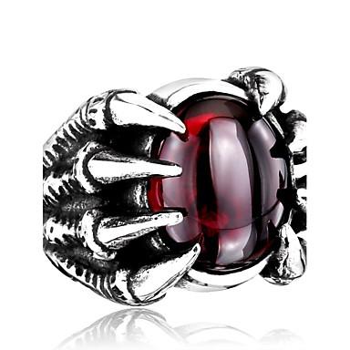 رخيصةأون خواتم-رجالي خاتم أسود أحمر الفولاذ المقاوم للصدأ الصلب التيتانيوم مخصص موضة مناسب للبس اليومي فضفاض مجوهرات سحر