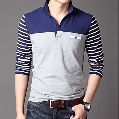 Men S Work Cotton Polo Solid Colored Shirt Collar Long Sleeve