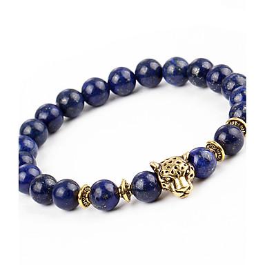 ieftine Brățări-Bărbați Pentru femei Onyx Brățări cu Mărgele Brățară Natură Modă Aliaj Bijuterii brățară Albastru Închis Pentru Cadou Concediu