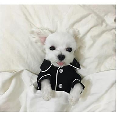 رخيصةأون ملابس وإكسسوارات الكلاب-كلب منامة الشتاء ملابس الكلاب أسود أزرق فاتح أبيض كوستيوم حرير بريطاني كاجوال / يومي S M L XL XXL