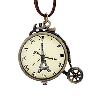 رخيصةأون ساعات النساء-رجالي نسائي ساعة جيب داخل الساعة ميكانيكي يدوي جلد بني نقش جوفاء طرد كبير مماثل عتيق برج ايفل - برونز