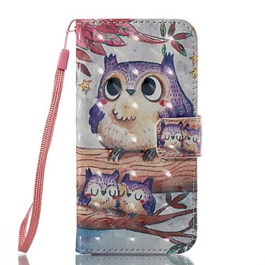 voordelige iPhone 7 Plus hoesjes-hoesje Voor Apple iPhone 7 Plus / iPhone 7 / iPhone 6s Plus Portemonnee / Kaarthouder / Flip Volledig hoesje Uil Hard PU-nahka