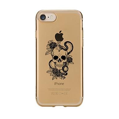 voordelige iPhone 5 hoesjes-hoesje Voor Apple iPhone 7 Plus / iPhone 7 / iPhone 6s Plus Transparant / Patroon Achterkant Doodskoppen Zacht TPU
