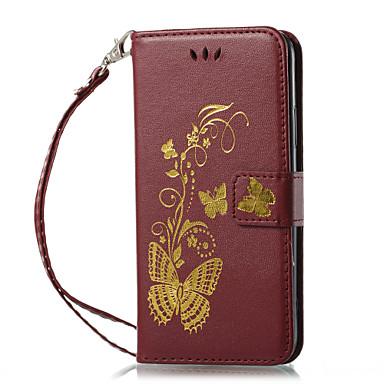 Недорогие Кейсы для iPhone 5с-Кейс для Назначение Apple iPhone X / iPhone 8 Pluss / iPhone 8 Кошелек / Бумажник для карт / со стендом Чехол Однотонный Твердый Кожа PU