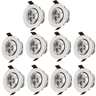 זול תאורת פנים-10pcs 3 W 300 lm 3 LED חרוזים קל להרכבה שקוע תאורת תקרה לבן חם לבן קר 85-265 V מסחרי בית\משרד סלון\פינת אוכל / עשרה חלקים / RoHs / CE